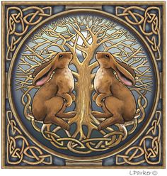 Image detail for -Celtic moon gazing hare card | Lisa Parker