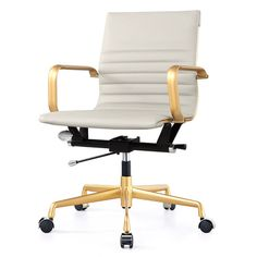 M348 Office Chair In Vegan Leather (Color Options). THIS IS ACTUALLY GOLD AND GRAY OPTION!!! The GOLD AND WHITE MIGHT BE BEST??!!  I do like this but what do you think??!!!!
