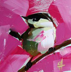 Chickadee no. 281 original bird oil painting by by prattcreekart, $40.00