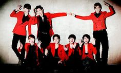 Kpop group  INFNITE in dashing red suits