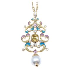Tiffany & Co. Pearl Enamel Yellow Sapphire Diamond Gold Necklace. Stunning 18k Yellow Gold Diamond, Yellow Sapphire, Pearl, and Enamel Necklace by Tiffany & Co. Weight of Large Yellow Sapphire in the middle: 1.37ct. Weight of two additional Yellow Sapphire stones: .37ct. One Cultured Pearl, 9mm x 9.5mm. And 16 Total Diamonds, VS Clarity, G Color. Total Diamond Weight: .50ct.   circa 2010