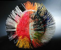 """Emily Dvorin  """"PANOPLY""""  16""""x18""""x18""""  plastic needlepoint canvas, cable ties"""