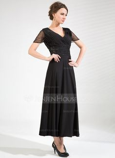 A-Line/Princess V-neck Tea-Length Ruffle Beading Zipper Up Sleeves Short Sleeves No 2014 Black Fall Winter General Plus Tulle Jersey Mother of the Bride Dress