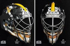 Marc-Andre Fleury (Pittsburgh Penguins Goalie) Rocks Sweet Pittsburgh Steelers Goalie Mask