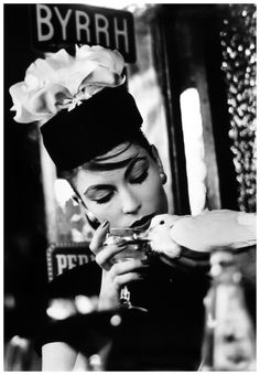 William Klein Mary and Dove at Cafe, Paris (Vogue) 1957