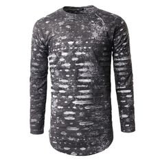 Sale 23% (18.6$) - Mens Fashion Retro Style Hole Long Sleeve T-shirt Casual Slim Fit Tops