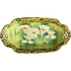 art nouveau ie and c company floral moriage celery or relish dish japan