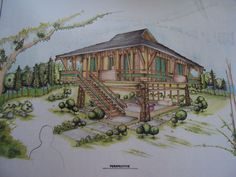 hehehe bahay kubo inspired design By sar-rai-loi-dee Filipino Architecture, Bamboo Architecture, Art And Architecture, Bahay Kubo Design, Bamboo House, Siargao, Design Competitions, My Secret Garden, Traditional House