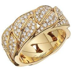 Preowned Cartier Diamond Yellow Gold La Dona Band Ring (28.700 BRL) ❤ liked on Polyvore featuring jewelry, rings, band rings, yellow, 18k gold jewelry, 18k ring, diamond band ring and gold diamond rings