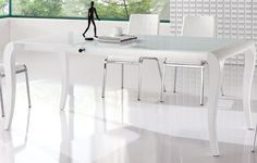 Clean White Interior White Contemporary Folding Dining Table