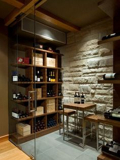 Enchanting Contemporary Residence Employing Natural Elements: Eclectic Wine Cellar Design Showing Exposed Stone Wall And Glass Door Open Wooden Storage Ideas Kadenwood Residence ~ CLAFFISICA Villa Inspiration Wine Cellar Basement, Home Wine Cellars, Wine Cellar Design, Wine House, Wine Wall, Wine Cabinets, Wine Storage, Wine Shelves, Tasting Room