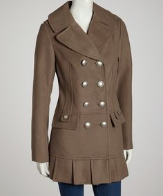 Look what I found on #zulily! Kensie Jeans Oatmeal Pleated Peacoat by Kensie Jeans #zulilyfinds