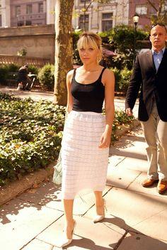white tierd pencil skirt, black tank. so simple so stylish