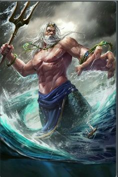 Poseidon- after being raped by Poseidon in Athenas temple, Athena then punished Medusa by making her have snakes for hair and a hideous appearance. Greek Mythology Tattoos, Greek And Roman Mythology, Greek Gods And Goddesses, Poseidon Greek Mythology, Poseidon Tattoo, Poseidon Drawing, Zeus Poseidon Hades, Zeus Tattoo, Mythological Creatures