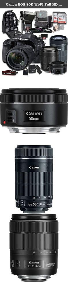 """Canon EOS 80D Wi-Fi Full HD 1080P Digital SLR Camera with Canon EF-S 18-135mm f/3.5-5.6 IS USM Lens + Canon EF-S 55-250mm f/4-5.6 IS STM Lens + Canon EF 50mm f/1.8 STM Lens. This Paging Zone DSLR Camera Bundle Includes: Canon EOS 80D Digital SLR Camera Canon EF-S 18-135mm f/3.5-5.6 IS USM Lens Canon EF 75-300mm f/4-5.6 III Lens Canon EF 50mm f/1.8 STM Lens 3 Pieces Filter Kit 50"""" Camera Tripod 2 Pieces SanDisk 32 GB High Speed SDHC Class 10 Memory Cards Deluxe Camera Backpack Ultra-Bright..."""
