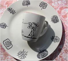DIY sharpie dinnerware Sharpie, Dinnerware, Tea Cups, Diy Projects, Tableware, Creative, Diy Ideas, Sisters, Mugs