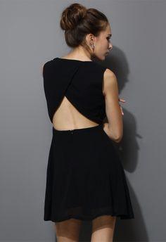 Chiffon Open-back Dress in Black - Dress - Retro, Indie and Unique Fashion 51