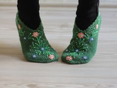 Women Socks Slippers, Size  7 1/2 - 8, Hand knitted slippers in green, Turkish Slippers, Traditional embroidery, socks, clothing. $25.00, via Etsy.