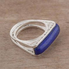 Lapis Lazuli and Silver Filigree Cocktail Ring from Peru