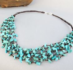 Turquoise Chip Stone Multi Line Necklace by Summerwrist on Etsy