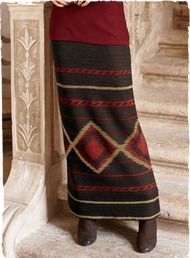 Diamonds and stripes echoing traditional Navajo blankets lend a bold punch to this long, lean skirt, jacquard knit of fine gauge pima in black, taupe and paprika.