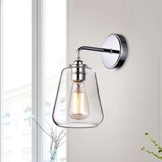Shop for Anastasia Chrome Finish Wall Sconce with Clear Glass Shade. Get free delivery On EVERYTHING* Overstock - Your Online Wall Lighting Store! Get in rewards with Club O! Outdoor Wall Sconce, Wall Sconce Lighting, Wall Sconces, Bathroom Sconces, Bathrooms, Shabby Chic Table Lamps, Light Bulb Types, Lighting Store, Cool Walls