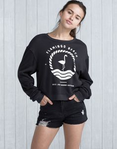 Pull&Bear - pacific girls - sweat - sweat print flamant rose - noir délavé - 05591314-V2016