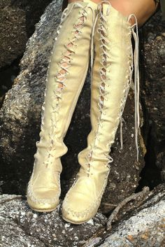 Gold Knee High Leather Boots for Pre Order Let these beautiful gold sand shimmer leather boots envel Leather And Lace, Leather Boots, Black Leather, Bottes Goth, Bootie Boots, Shoe Boots, Women's Shoes, Comfortable Dress Shoes, Goth Boots