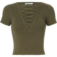 T by Alexander Wang Olive Lace-Up Short Sleeve Sweater Intermix ($150) ❤ liked on Polyvore featuring tops, sweaters, army green top, olive top, lace up sweater, short sleeve lace up top and brown top