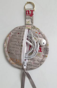My Bucket List Fabric Circular Zippered Earbud Pouch by sewmoira