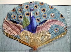 Vintage Antique Peacock fan, circa 1905 by Adolphe Thomasse - Reproduction Oil Painting - Antique Fans, Vintage Fans, Vintage Decor, Vintage Style, Hand Held Fan, Hand Fans, Chinese Fans, Fan Decoration, Peacock Art