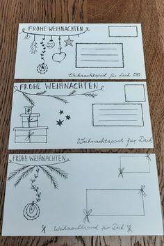 Weihnachtskarten hübsch versenden in Handletter Briefumschläge  #Handletter HandletterBriefumschläge #WeihnachtsDIY #Handlettering Diy Weihnachten, Repurposing, German, Bullet Journal, Inspiration, Drawings, Diys, Custom Holiday Cards, Upcycling