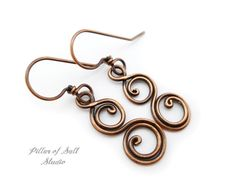 Solid copper earrings / Wire wrapped by PillarOfSaltStudio on Etsy