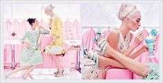 A glimpse of sorbet-inspired looks was this summer 2012 ad campaign from Louis Vuitton. Love how the designer went super literal, with models wearing lemon yellows, mint greens and strawberry pinks while kicking their feet up in an old-school ice cream parlor.