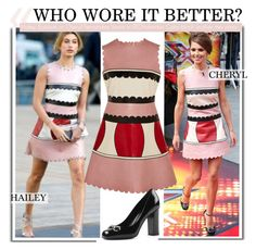 """Who Wore It Better?Hailey Baldwin or Cheryl Fernandez-Versini in REDValentino Color-block leather mini dress"" by kusja ❤ liked on Polyvore"