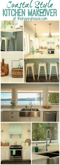 Come and tour this coastal style kitchen makeover with white shaker cabinets and aqua accents at thehappyhousie.com