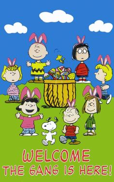 Peanuts Gang with Charlie Brown and Snoopy. ..Easter Poster