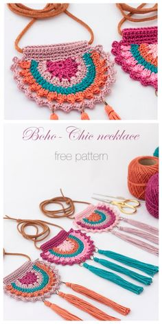Boho Summer Necklace Free Crochet Patterns Best Picture For crochet accessories decor For Your Taste You are looking for something, and it is going to. Crochet Necklace Pattern, Crochet Jewelry Patterns, Crochet Accessories, Crochet Designs, Knitting Patterns, Crochet Earrings, Macrame Patterns, Free Knitting, Crochet Diy