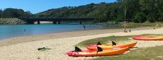 Hire kayaks at Boambee Creek Reserve, Sawtell, near Coffs Harbour $15 hr to hire