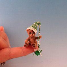 Teddy Bear_Tuque_Miniature Handmade_Doll House Baby Toy_Ooak Artist_Cheryl Brown