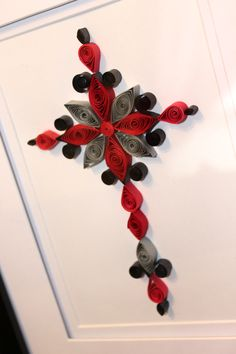 Quilled Cross, shades of red and black by Kreations by Kelsee facebook.com/kreationsbykelsee