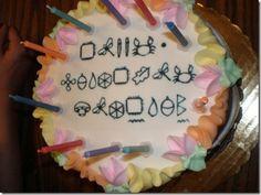 Artemis Fowl inspired cake - birthday wishes written in Gnomish