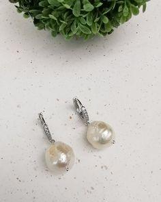 Baroque Pearl  Huggie hoop  Earrings.  FREE SHIPPING Pearl Collection Pearl Earrings, Hoop Earrings, Baroque Pearls, Silver Plate, Jewelery, Plating, Perfume, Free Shipping, Handmade