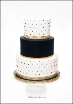 Black and white wedding cake with gold bling