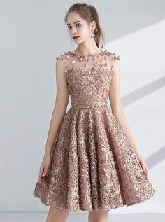 Chic / Beautiful Champagne Homecoming Graduation Dresses 2017 A-Line / Princess Scoop Neck Sleeveless Appliques Flower Metal Sash Short Pierced Formal Dresses - Homecoming Dresses Lace Homecoming Dresses, Unique Prom Dresses, Dresses For Teens, Sexy Dresses, Cute Dresses, Evening Dresses, Short Dresses, Fashion Dresses, Formal Dresses