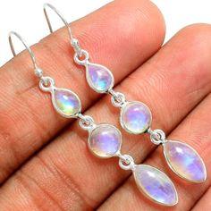 Rainbow-Moonstone-925-Sterling-Silver-Earrings-Jewelry-SE102687
