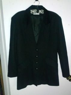 $19.99 Charles Klein 100 Wool Black Blazer Coat Jacket Velvet Trim Leather Buttons 9 | eBay *!* GET PAID TO PIN *!* pincredibles.com/?r=Tina4Music#sthash.61AN5sGr.dpuf