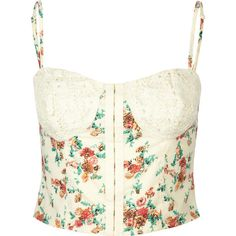 LOTTIE & HOLLY Crochet Floral Corset ($22) ❤ liked on Polyvore