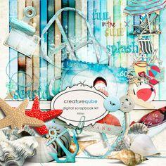 Digital Scrapbook kit Seaside beach by creativeqube on Etsy, $4,90