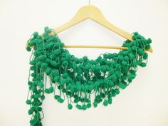 Hand Crochet Green Pon Pon Scarf Lariat Cowl Winter by PIPPADUSHES, $19.00